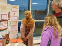 Semira Said, a senior at Al-Huda High School in College Park shows explains to a concerned Prince George's County just how important healthy drinking choices are.